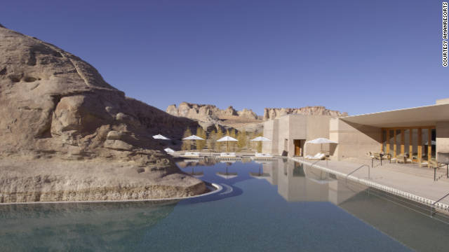 Guests at Amangiri can take in panoramic views of Utah's dramatic mesas from either the 84-degree water or one of the surrounding lounges and king-size daybeds. See more photos on <a href='http://www.budgettravel.com/slideshow/photos-worlds-most-amazing-hotel-pools,6271/' target='_blank'>BudgetTravel.com</a>.