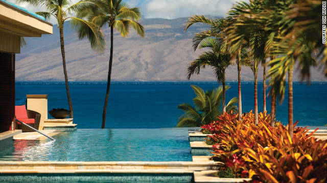 The $9 million infinity-edge pool at the Four Seasons Resort Maui seems to roll out into Wailea Bay 53 feet below. See more photos on <a href='http://www.budgettravel.com/slideshow/photos-worlds-most-amazing-hotel-pools,6271/' target='_blank'>BudgetTravel.com</a>.