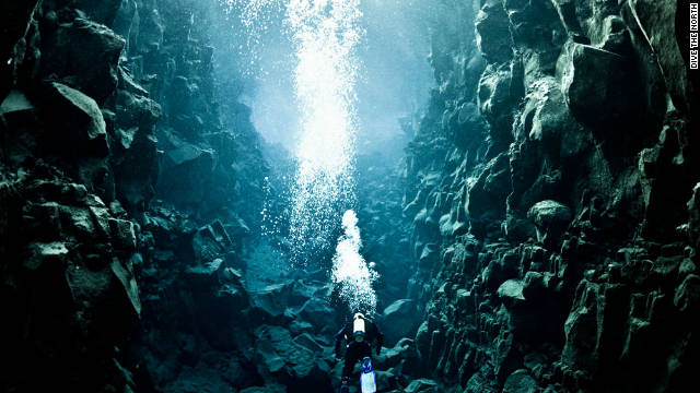 The Silfra fissure in Iceland's Thingvellier National Park is where the North American and Eurasian tectonic plates meet.