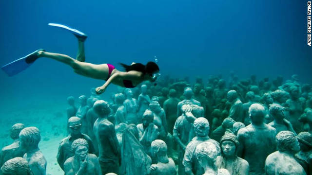 The Museum of Underwater Modern Art in Cancun, Mexico, holds over 403 permanent life-size sculptures and is one of the largest artificial reef attractions in the world.