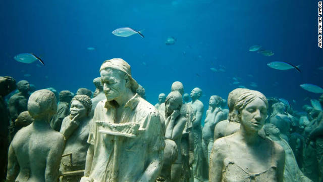 The work of British sculptor Jason deCaires Taylor, each sculpture is individually cast and made using special cement mix to encourage coral growth.