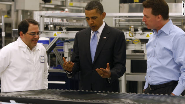 President Obama visits the Solyndra solar panel company May 26, 2010, in Fremont, California.