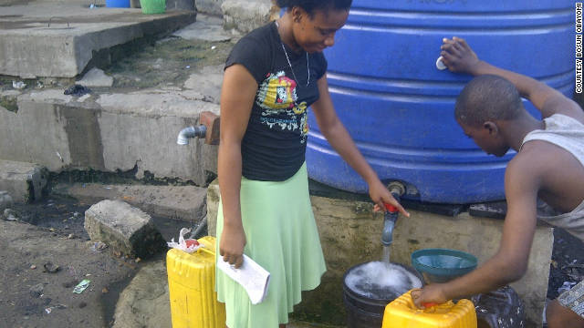Due to the prevalence of waterborne disease in Lagos, most people rely on private boreholes (pictured) -- underground wells that pump fresh water to the surface.