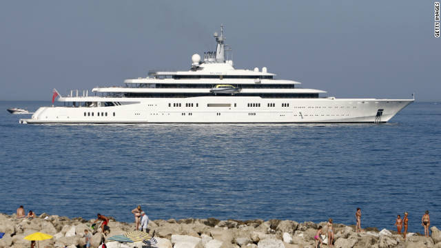 "Roman Abramovich's gigayacht Eclipse. The largest private yacht in the world at 163 meters, ""Eclipse"" is believed to feature around 24 guest cabins, two swimming pools, and a mini-submarine."