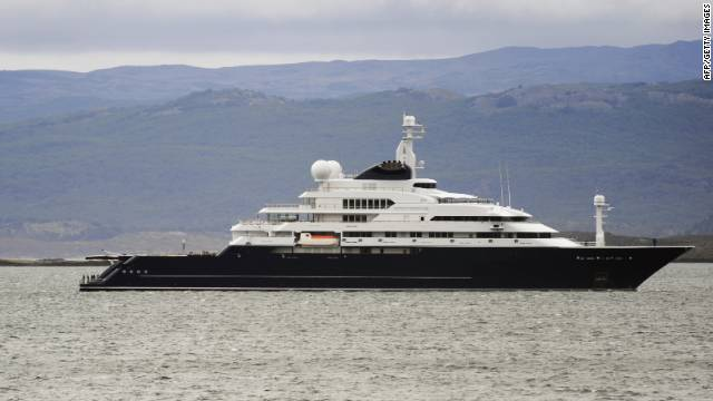 Microsoft co-founder Paul Allen's 126-meter gigayacht Octopus, pictured at Ushuaia Bay, southern Argentina.