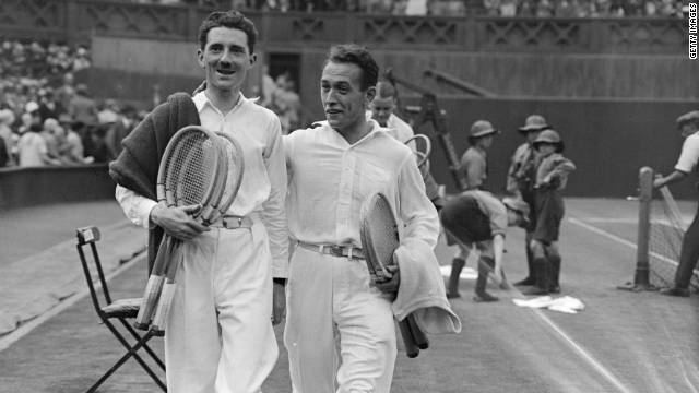 Brugnon, left, was a double specialist who never won a singles grand slam. He and Cochet leave the court after beating Americans Vincent Richards and Howard Kinsey in the 1926 Wimbledon final.