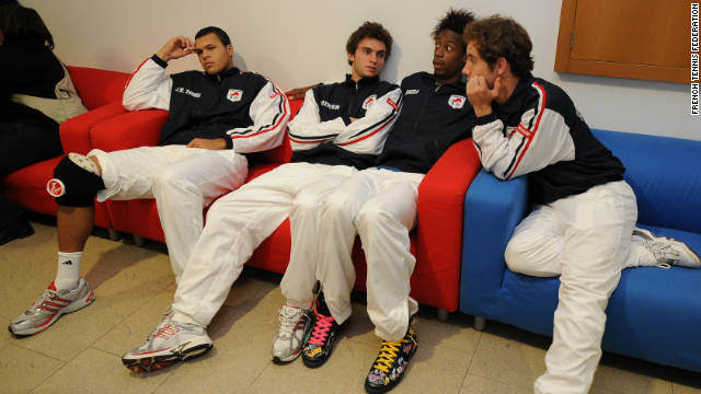From left: Jo-Wilfried Tsonga, Gilles Simon, Gael Monfils and Richard Gasquet prepare for their 2011 Davis Cup challenge.
