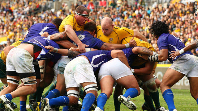 A scrum pops up between Australian and Samoan forwards. The dark arts of the scrum are a mystery for most -- it's a place where biting, gouging and dirty tricks can go unnoticed by referees.