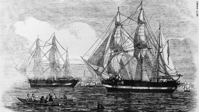 "Artist impressions of the ships ""HMS Erebus"" and ""HMS Terror"" used in Sir John Franklin's ill-fated attempt to discover the Northwest passage."
