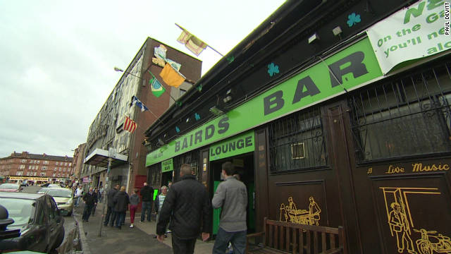 Bairds Bar on the Gallowgate road in Glasgow, Scotland. The pub is a popular stopping point for the faithful followers of Celtic on their way to the match.