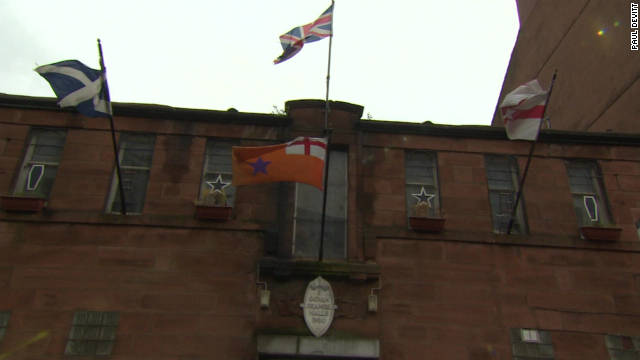 The Louden Tavern is just around the corner from the Glasgow Orange Order -- a Protestant fraternity who still march once a year to celebrate the victory of King William III over the Catholic King James II in 1690 at the Battle of the Boyne