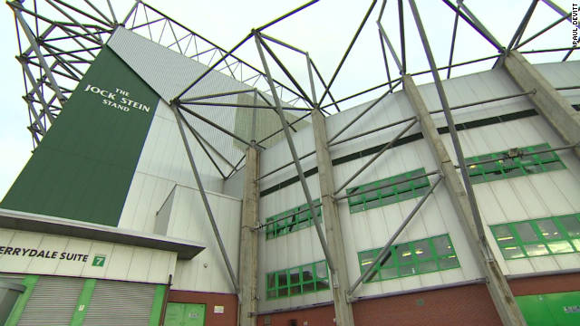 "One of the large stands at Celtic Park, the 60, 000-seater home stadium of Celtic Football Club. The arena has been dubbed ""Paradise"" by the fans, many of whom travel from Ireland each fortnight to see the ""Bhoys"" play at home."
