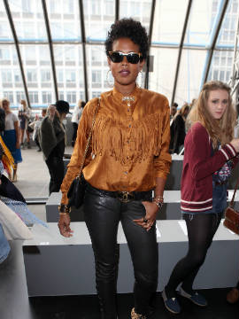 U.S. singer, Kelis attends the Unique runway show at London Fashion Week Spring/Summer 2012.