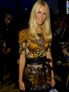 Claudia Schiffer attends the Fashion Fringe fashion show during London Fashion Week.