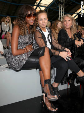 Naomi Campbell, Chloe Green and Tina Green seen at the front row at the Unique runway show.