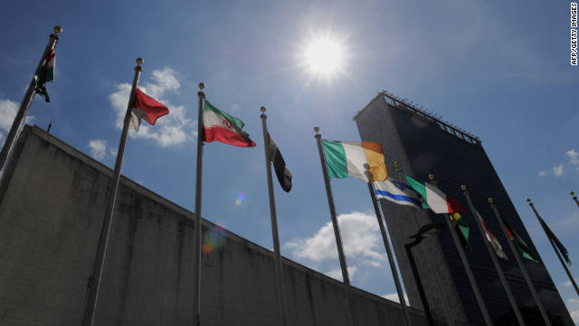 U.N. flags of all nations fly Monday to greet participants in the General Assembly's meeting on noncommunicable diseases.