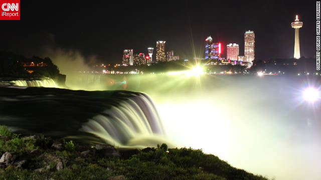 "George Carter Eberwine used a 10-second exposure to capture the lights and movement surrounding Niagara Falls at night. ""I knew that the falls were beautifully illuminated and would present a great opportunity for this shot."""