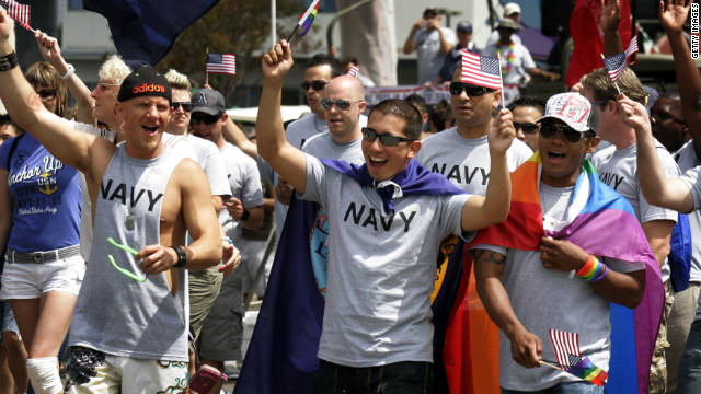 Military personnel march in the San Diego Gay Pride Parade in July; about 200 active-duty troops and veterans from every branch of the military marched for the first time.