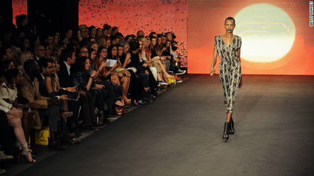 A model walks down the catwalk during the launch of the House Of Dereon collection.