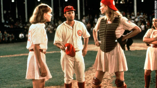 """There's no crying in baseball,"" Tom Hanks, center, famously said as manager Jimmy Dugan in 1992's ""A League of Their Own."" The World War II-set baseball dramedy, also starring Geena Davis, right, follows the rise of the All-American Girls Professional Baseball League."