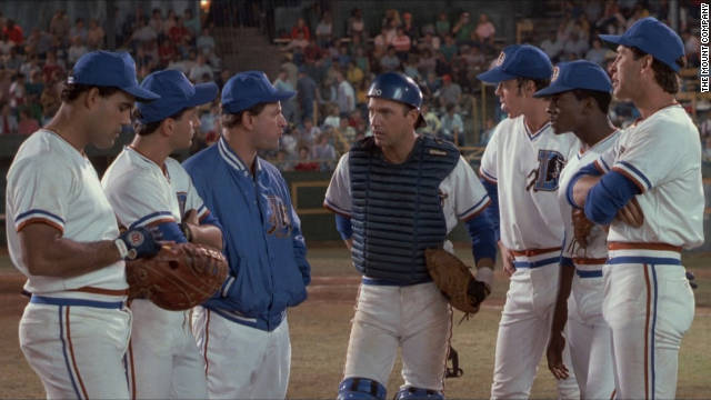 """Bull Durham,"" one of Kevin Costner's many baseball films, features the actor as minor league catcher ""Crash"" Davis. Davis, center, works to prepare a rookie pitcher (Tim Robbins), while Susan Sarandon's character falls for the pair of them."