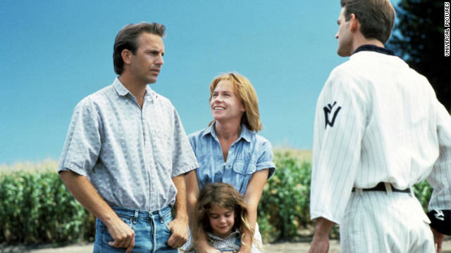 "No longer a minor league catcher, Costner, who plays an Iowa corn farmer in ""Field of Dreams,"" hears a voice urging him to build a baseball diamond. ""If you build it, he will come,"" the voice says, though it's often misquoted as ""If you build it, they will come."""