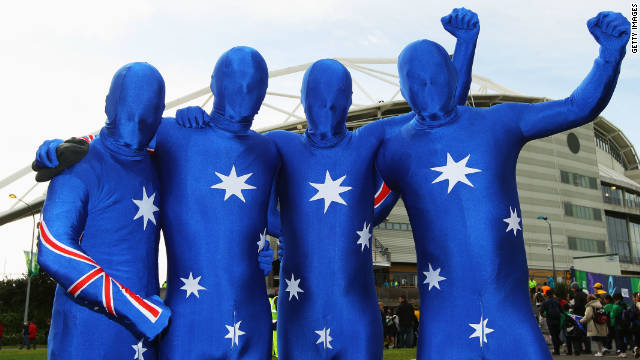 Australia's two-time world champion Wallabies also have a dedicated following, with these four fans sporting all-in-one lycra suits.
