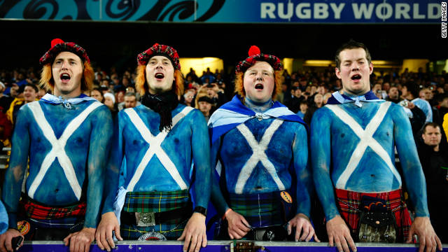 Scotland always bring a large number of passionate supporters to any Test match, like these four members of the Tartan Army.