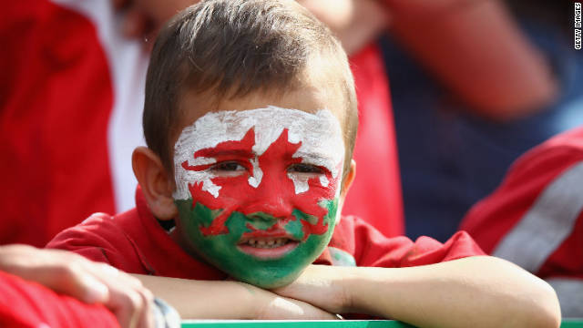 The World Cup appeals to fans of all ages, including this boy willing on Wales.
