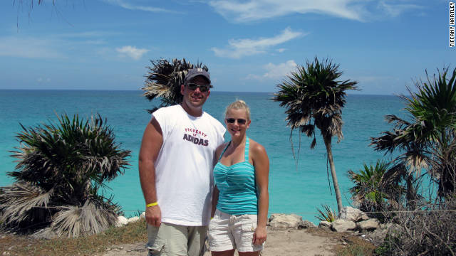 Tiffany Hartley's husband, David, left, was killed while on a personal watercraft on Falcon Lake, between Texas and Mexico.