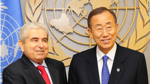 U.N. Secretary-General Ban Ki-Moon greets Cyprus President Demetris Christofias at U.N. headquarters in New York Monday.