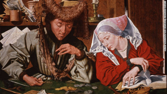 """The Money-changer and his Wife."" This 1540 painting by Marinus van Reymerswaele took the increasingly common practice of money-changing as its subject."