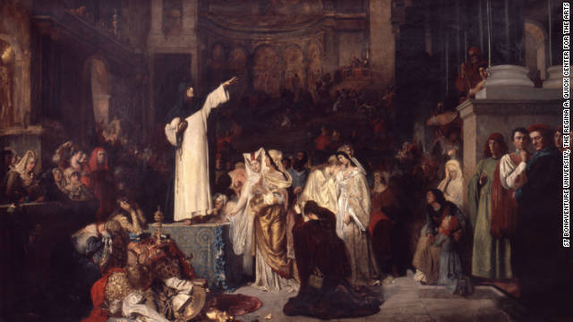 "Savonarola warned of the risks of wealth and ostentation. Ludwig von Langenmantel's 1881 painting ""Savonarola Preaching Against Luxury and Preparing the Bonfire of the Vanities,"" imagines him as a lone, austere figure standing up to a decadent world."