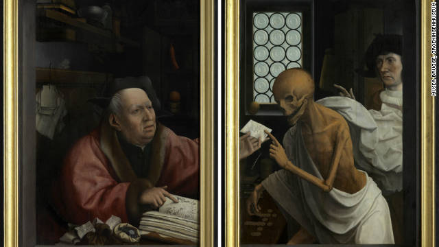 "As society became increasingly mercantile, people worried about the effect of financial activity on the soul. Flemish painter Jan Provoost's ""Death and the Miser,"" from 1505-10, highlights such worry."