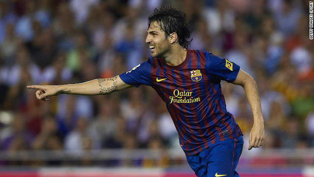 Barcelona's Cesc Fabregas celebrates scoring his late equalizer