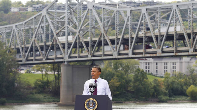 President Obama speaks in Ohio at the Brent Spence Bridge, which he says is not designed to hold its current traffic load.