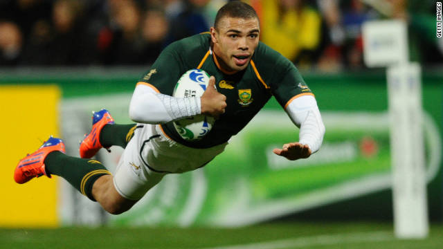 Bryan Habana crossed for his 39th international try to move past Joost van der Westhuizen.