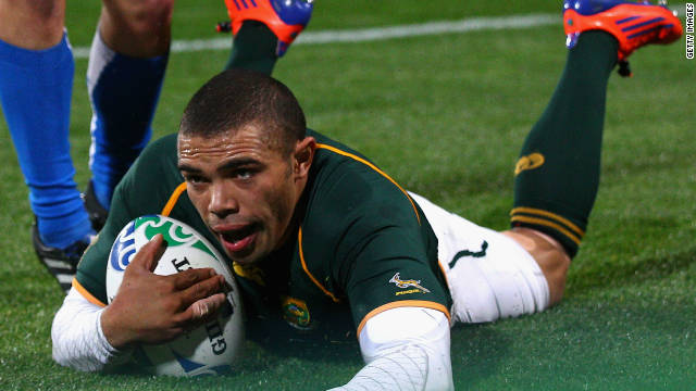 Bryan Habana has taken up Williams' mantle as the Springboks' most lethal weapon. The wing became South Africa's all-time leading try scorer when he went over for his 39th Test score against Namibia at this year's tournament.