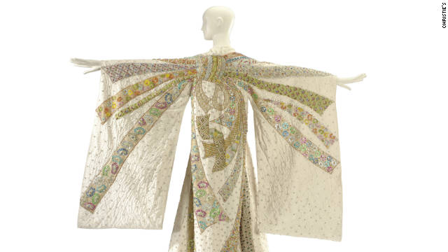 "On display at Christie's in London, alongside the famous jewels, are Taylor's costumes and couture gowns, including this Tiziani Kimono, made for her to wear as Flora 'Sissy' Goforth in the 1968 film, ""BOOM!"""