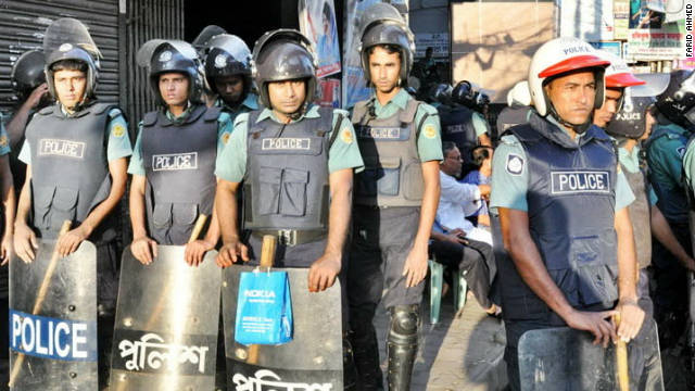 A huge contingent of police guard the streets in Bangladeshi capital of Dhaka on Thursday as the opposition parties call a general strike in protest against fuel price hike.