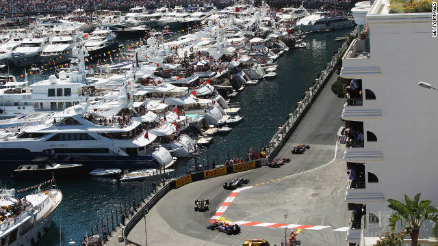 Cars drive round the harbor section during the Monaco Formula One Grand Prix.