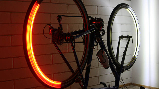 The Revolights project was funded on Kickstarter in 2011 when it raised over $215,000 - more than five times its target. The team have recently launched Revolights City, a second generation product that can fit additional types of 700C rims.