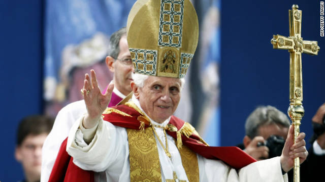 Pope Benedict XVI gives a blessing during a vesper service in Etelsbach, Germany, on Friday.