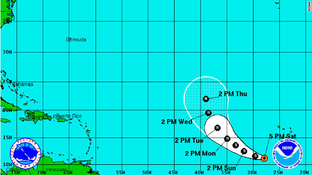 Newly formed tropical storm Philippe is expected to strengthen over the next 48 hours, here is NOAA's predictions of the storm's trajectory.