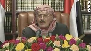 Yemeni President Ali Abdullah Saleh makes a televised address to his nation on Sunday.