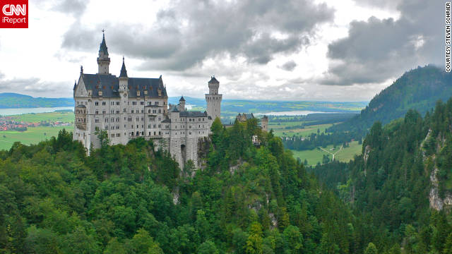 "Steven Schrier shared this photo of Neuschwanstein Castle. ""The beautiful Bavarian mountains are a short train ride southeast of Munich and include the astounding fairy-tale Neuschwanstein Castle built by King Ludwig in the late 19th century."""