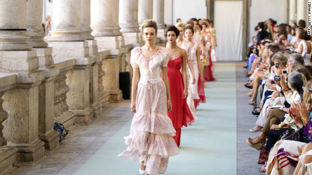 A model walks the runway at the Luisa Beccaria Spring/Summer 2012 fashion show as part of Milan Womenswear Fashion Week.
