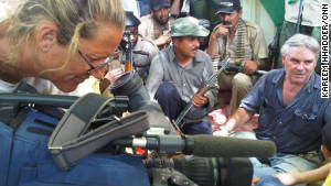 CNN\'s Ben Wedeman, right, and CNN photojournalist Mary Rogers during an interview in Sabha, Libya, in September.