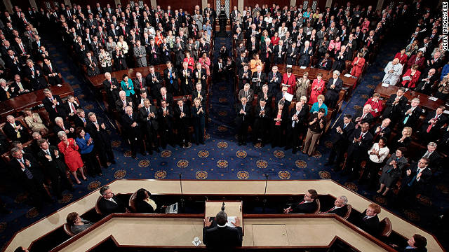 A joint session of Congress listens to President Obama speak on September 8.