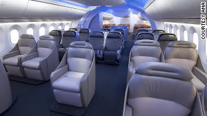The new Dreamliner 787\'s LED interior lights can change the mood inside the cabin.